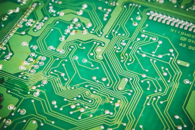 Microcircuit close up. selective focus.