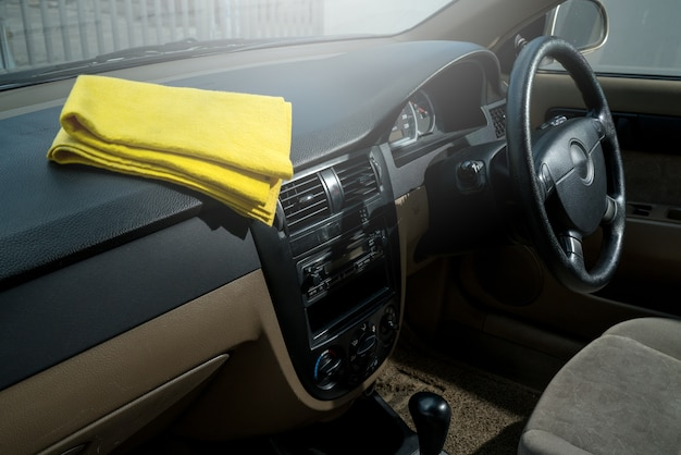 Microfiber and console car, hand cleaning interior modern car