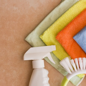 Microfiber nupkins, cleaning agent and brush