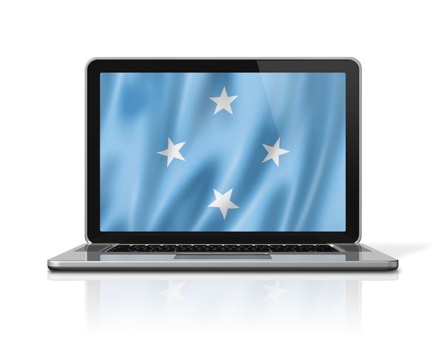 흰색 절연 노트북 화면에 미크로네시아 플래그입니다. 3d 그림을 렌더링합니다.