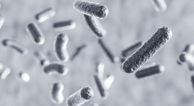 현미경으로 인체 내부에 떠 있는 미생물 세포, 3d 렌더링 박테리아 유기체 생물학적 과학적 배경, 살모넬라 질병 개념 3d 그림
