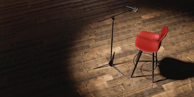 텍스트를위한 공간이있는 극장에서 스포트라이트로 조명되는 마이크와 의자