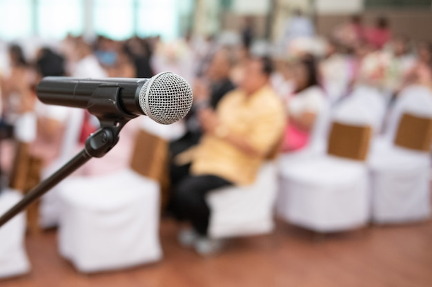 Microphone on the background of the conference