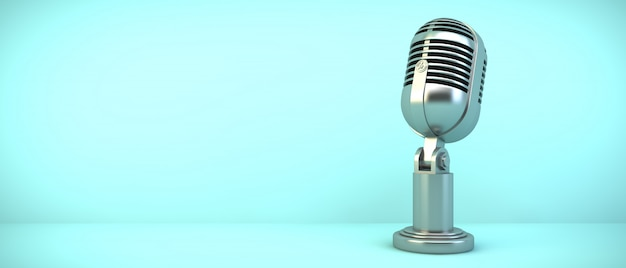 Microphone on blue room, 3d rendering