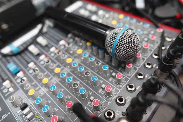 Microphone closeup on the disco club