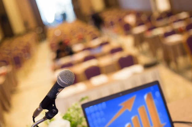 Microphone in the  conference hall or seminar room