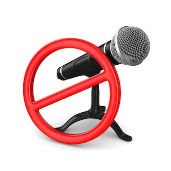 Microphone and forbidden sign on white
