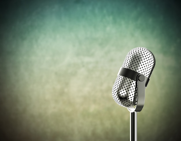Microphone on green
