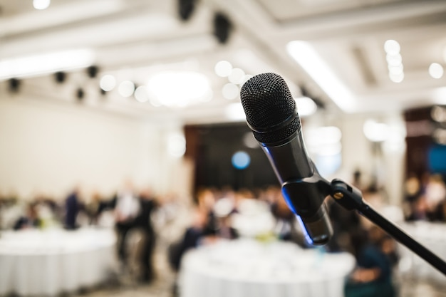Microphone in hall with modern event