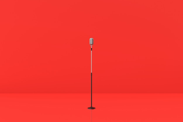 Microphone model on red background. 3d rendering.