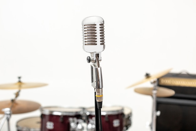 Microphone and music instrument. microphone in a recording studio with drum