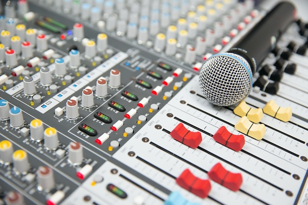 Microphone place on the sound mixer