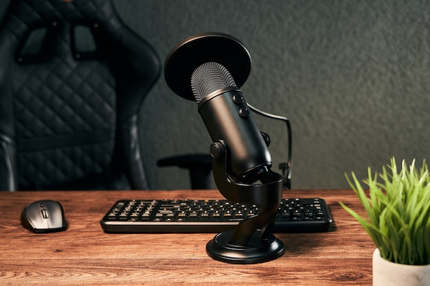 Microphone on a podcast studio