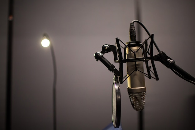 Microphone in professional studio