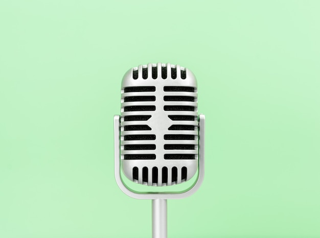 Microphone retro on green background