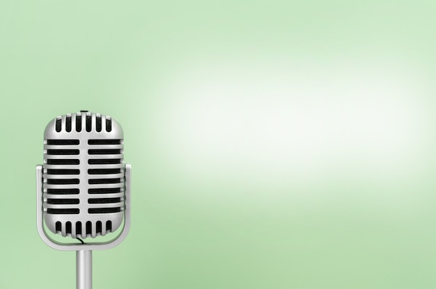 Microphone retro with copy space on greed background