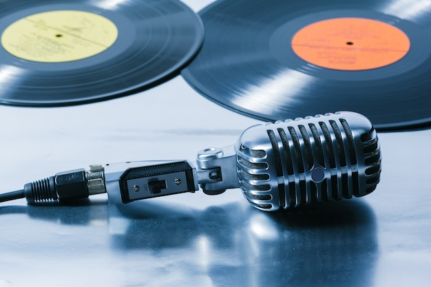 Microphone and segment of vinyl record