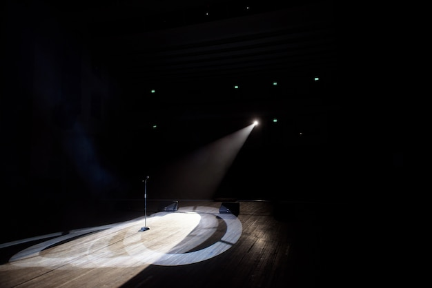 Microphone in a smoke in the beam of light.