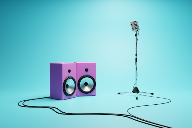 Microphone and speaker, singing contest.