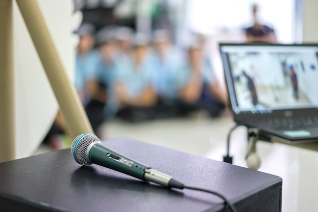Microphone on stage in seminar room