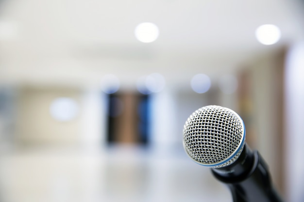 Microphone on the stand for public speaking.