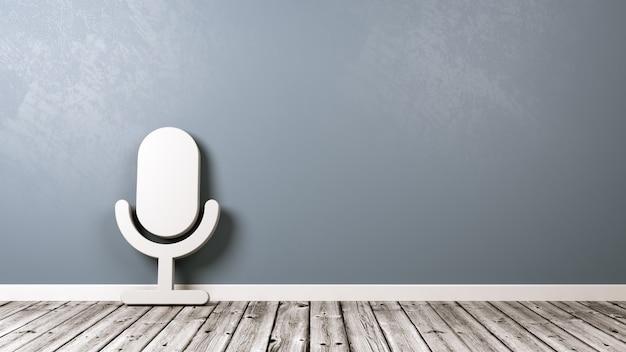 Символ микрофона на деревянном полу у стены