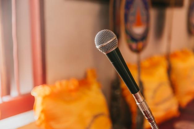 Microphone in thai temple for buddhist monk pray and sermon in thai church
