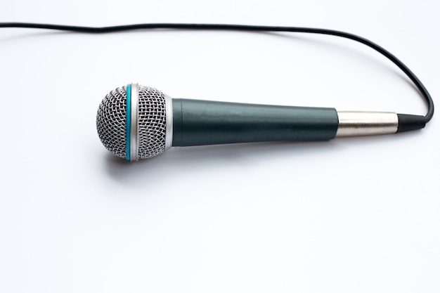 Microphone on white background.  copy space