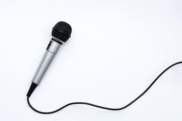 Microphone on white background. top view