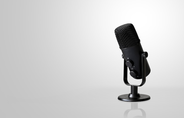 Microphone on white  with soft-focus