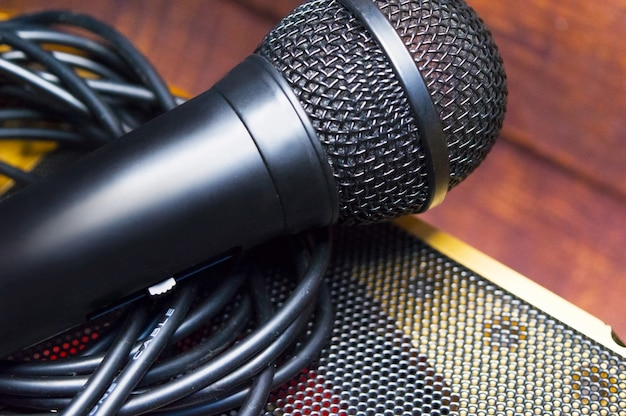 Microphone and wire on a blurred