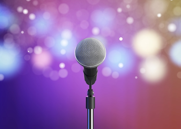 Microphone with blurred lights 3d render