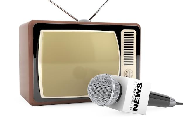 Микрофон со знаком окна последних новостей и ретро старый телевизор на белом фоне. 3d рендеринг