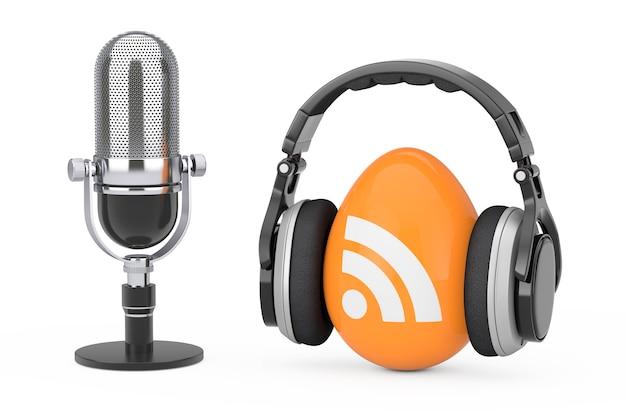 Микрофон с наушниками через значок логотипа подкаста rss на белом фоне. 3d рендеринг