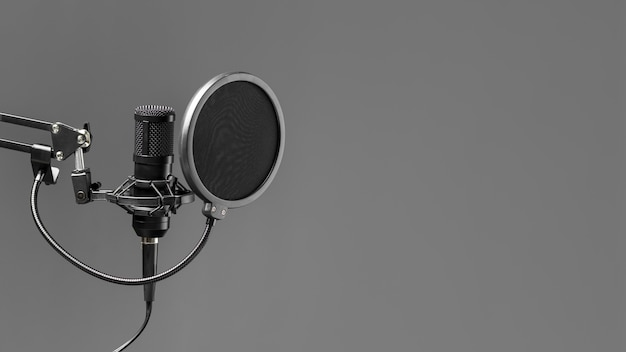 Microphone with pop buster copy space