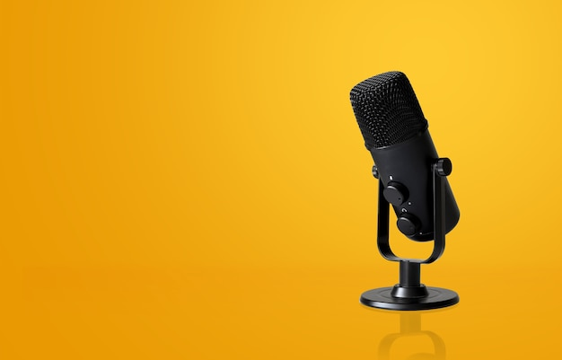 Microphone on yellow  with soft-focus