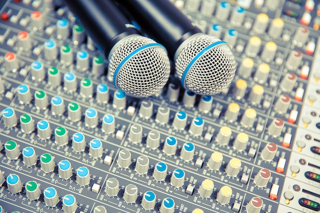 Microphones on the sound mixer in the studio.