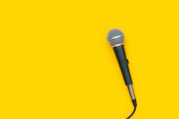 Microphones on white background. top view