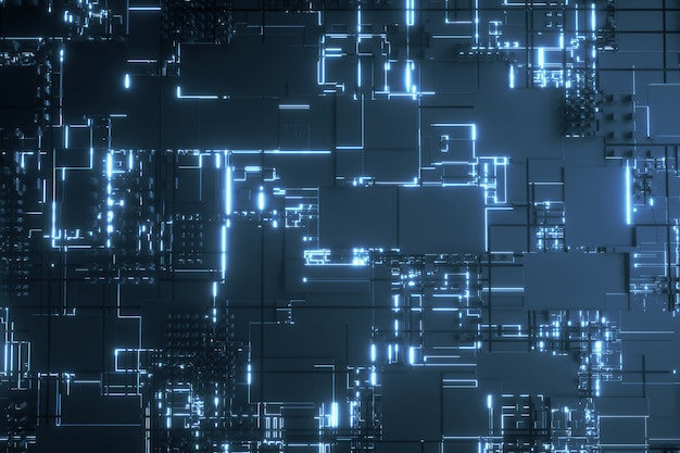 Microprocessor blue futuristic 3d background