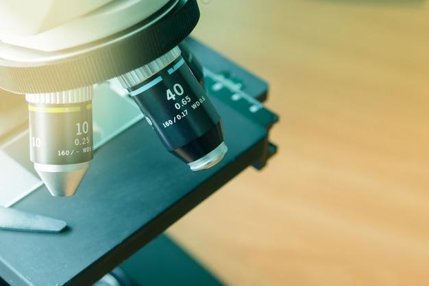 Microscope close up in laboratory
