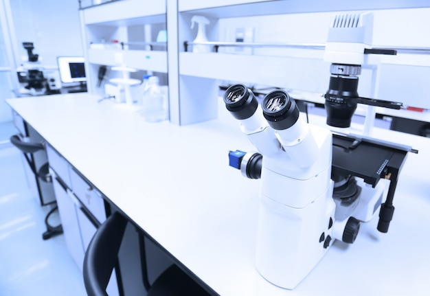 Microscope and detail of science laboratory.