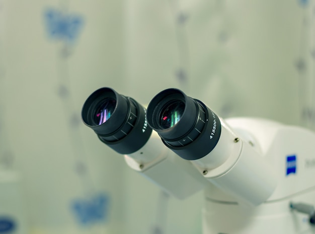 Microscope is in the laboratory.