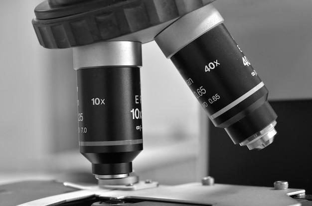 The microscope in laboratory