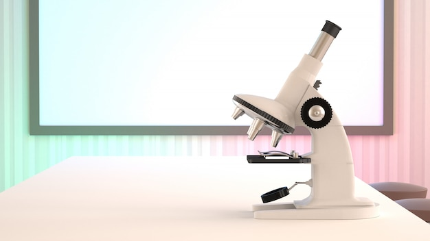 Microscope on the table.