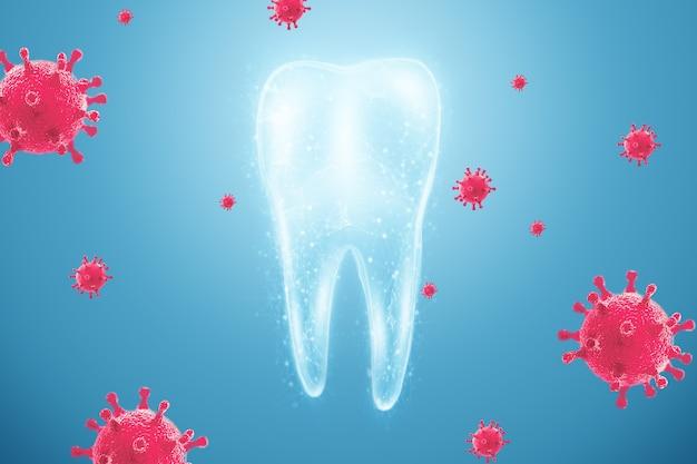 Микроскопические бактерии и вирусы вокруг зуба в виртуальном рту