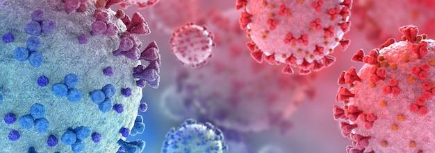 Covid-19疾患の顕微鏡による拡大図。体細胞に広がるコロナウイルス病。