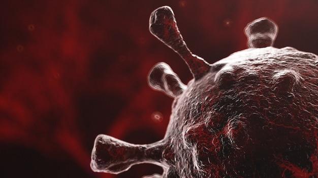유기체에 확산되는 바이러스의 현미경 이미지, 어두운 갈색 박테리아 배경