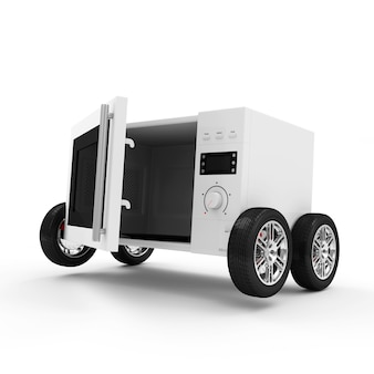 Microwave oven on wheels isolated on white