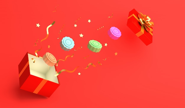 Праздник середины осени с подарочной коробкой и лунным тортом, 3d-рендеринг