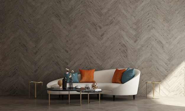 Mid century modern interior design of living room and wooden wall pattern background